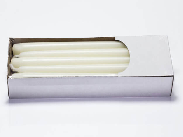 Candela avorio senza profumo - h23 d2,5 cm - 10 pezzi - Lumen